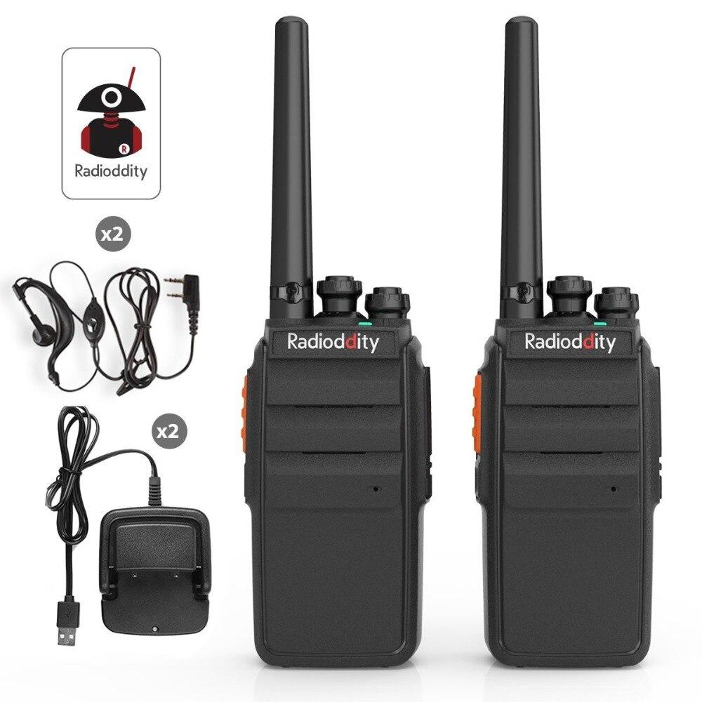 2 pcs Radioddity R2 Deux Way Radio 16CH UHF Scrambler PMR 446 mhz VOX Talkie Walkie Longue Portée avec USB chargeur + Écouteur