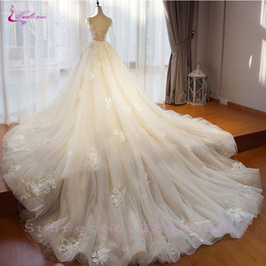 Image 3 - Waulizane Chic Organza Bridal Gowns Exquisite Embroidery Appliques O Neck 2 In 1 Detachable Train Wedding Dress Customize Made