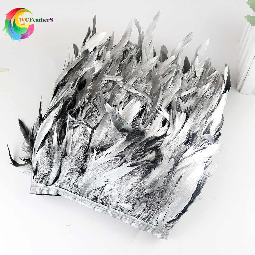 Wholesale 1yard Silver Real Chicken Feathers Trims Height 10-15cm Feathers Ribbon For Wedding Party DIY Dress Decoration