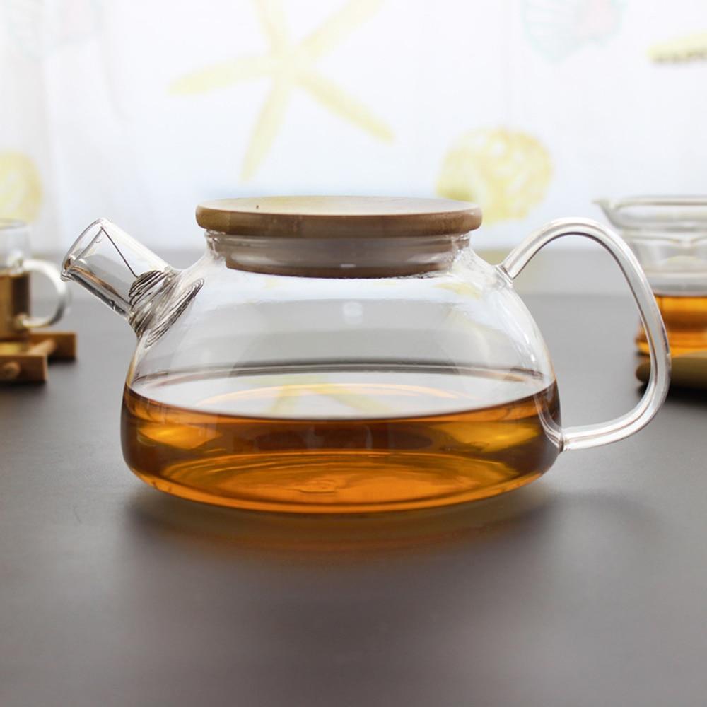 700ml Retro Style Large High Borosilicate Glass Tea Pot with Filter Natural Bamboo Lid Kung Fu Tea Set Strainer Teapot Kettle