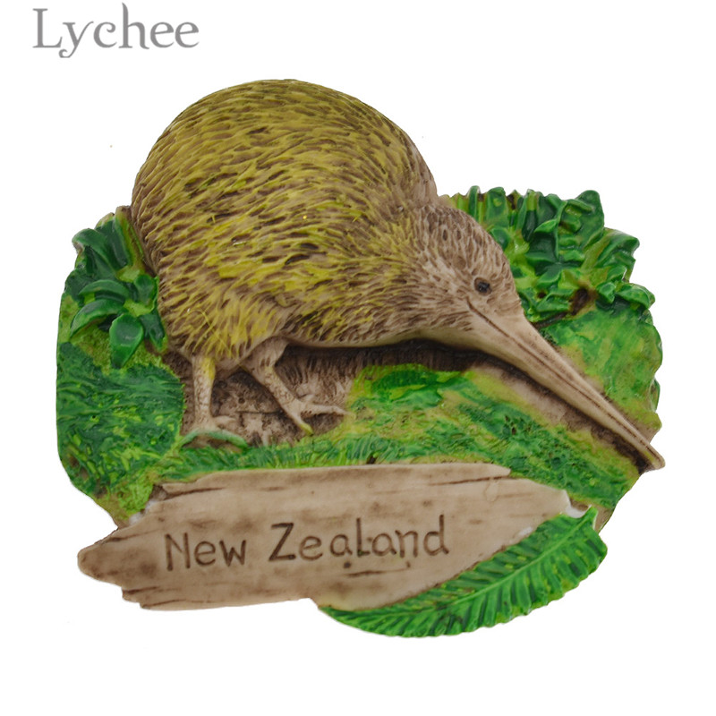 Lychee Life Creative 3D <font><b>New</b></font> <font><b>Zealand</b></font> <font><b>Fridge</b></font> <font><b>Magnets</b></font> Bird Resin Refrigerator Magnetic Stickers Tourist <font><b>Souvenirs</b></font> Home Decoration image