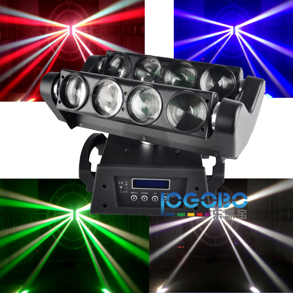 China Electronics Market 8x10W Professional DMX512 Spider Beam LED Stage Theater Sound Active MovingHead Strobe Party Show Lamp
