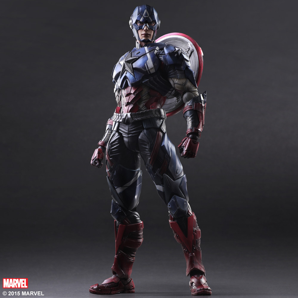 Elsadou 26cm Play Arts PA Marvel The Avengers Captain America Action Figure Toy Doll Collection new hot 17cm avengers thor action figure toys collection christmas gift doll with box j h a c g