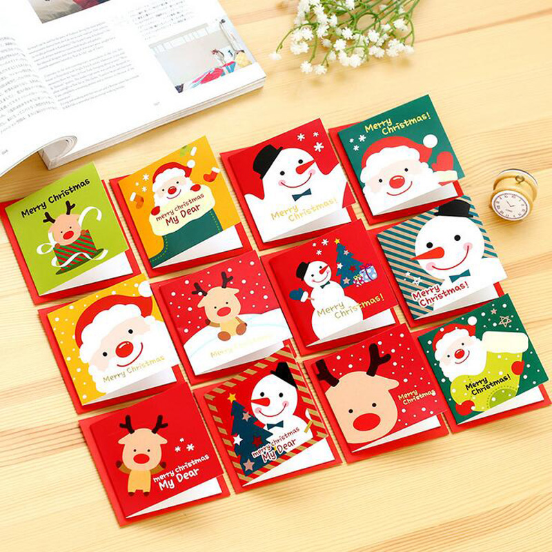 5PCS Lovely Merry Christmas Santa Claus Paper Postcard Decoupage Post Greeting Card Message Gift Cards High Quality