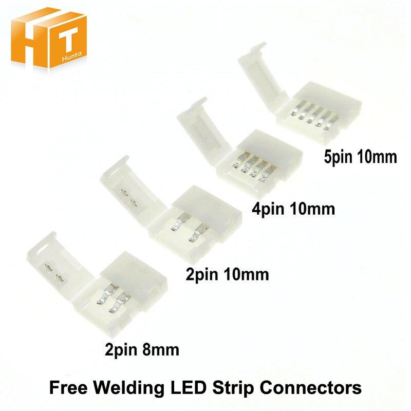 Разъемы для светодиодных лент 2pin 8 мм/2pin 10 мм/4pin 10 мм/5pin 10 мм Бесплатная сварки разъем 5 шт./лот.