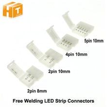 Tira CONDUZIDA Conectores 2pin 8mm / 10mm 10mm 5pin 10mm Clipe Conector 4pin 5 pçs/lote para Única Cor/RGB Luz de Tira Conduzida RGBW