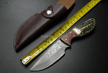 SK-006 Handmade forged Damascus Steel  hunting knife fixed knife  Rosewood+ Antler with cowhide leather cover