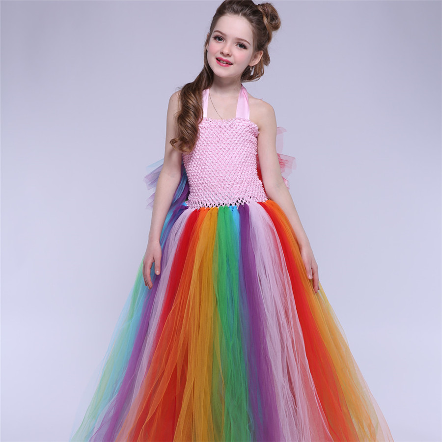 Cosplay Girls Dress Rainbow Tutu Dress Princess Party Halloween Costume Kids Festival Performance Tulle Dresses devil may cry 4 dante cosplay wig halloween party cosplay wigs free shipping