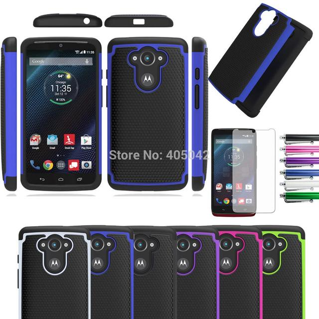 For Motorola Droid Turbo/Moto Maxx XT1254 XT1225 Dual Layer Armor Case Rubber Shockproof Silicone Hard Cover With/Without FILMS