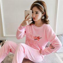 2019 winter new pajamas suit female cartoon pink leopard coral velvet thick warm 2 piece set pyjamas women pijama mujer