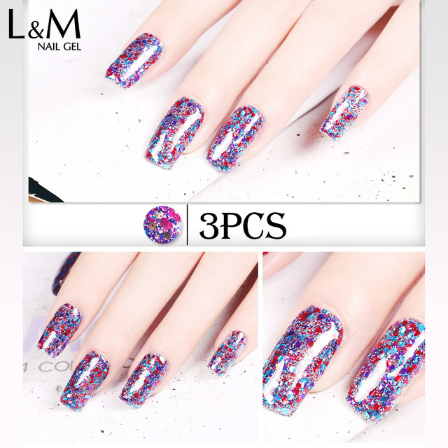 3pcs Diamond Glitter Natural Organic Nail Polish Soak Off Colors Gel Uv Suppliers