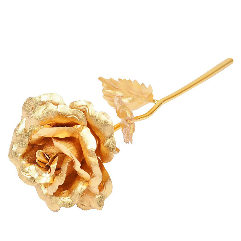 1 pcs Foil Plated Rose Gold Rose Flower Valentines Day Gift lovers Rose artificial flower Wedding Decoration