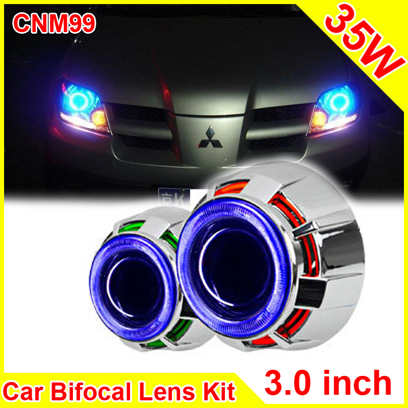цены 3.0 Inch 35W Car H1 H4 H7 Bi Xenon Projector Lens External lights Led Car Headlight Lens Double CCFL Angel Eyes CNM99