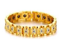 Good quality stainless steel magnet hologram bracelet ip golden plating energy wristband health and fitness balance bangle