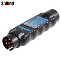7 Pin Car Trailer Plug Socket 7 Pole Wiring Connector Tester 12V N Type Signal Test
