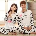 NOVO 2016 Casal Leite Curto Conjuntos de Pijama de Algodão Verão Salão Casa Roupas Animal Da Cópia da Vaca Mulheres e Homens Terno Sleepwear