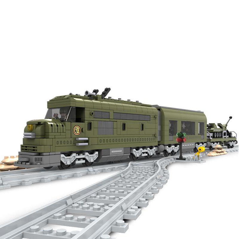 Military Train Building Block Bricks Set 764pcs Construction Train Series 25003 Compatible with lepin Technic toys for children newest track train brick building block set educational diy construction toys for children enlighten bricks compatible with lego