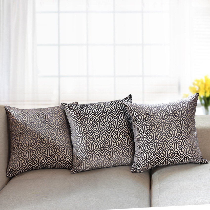 Luxurious Flocking Velvet Pillow Cover Beige Decorative
