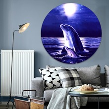 1 Piece Starry Sky Night Lovely Dolphins Mother And Child Painting On Canvas Print Type And On The Wall Decor Circular Poster sri aurobindo ashram the mother on auroville