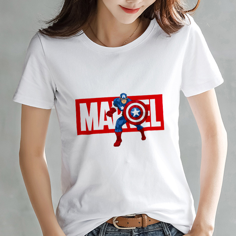 2019 Fashion Marvel Avengers   T     shirt   Women printed Harajuku Tshirt Thin section Short Sleeve   T  -  shirt   White Tops Female Clothing