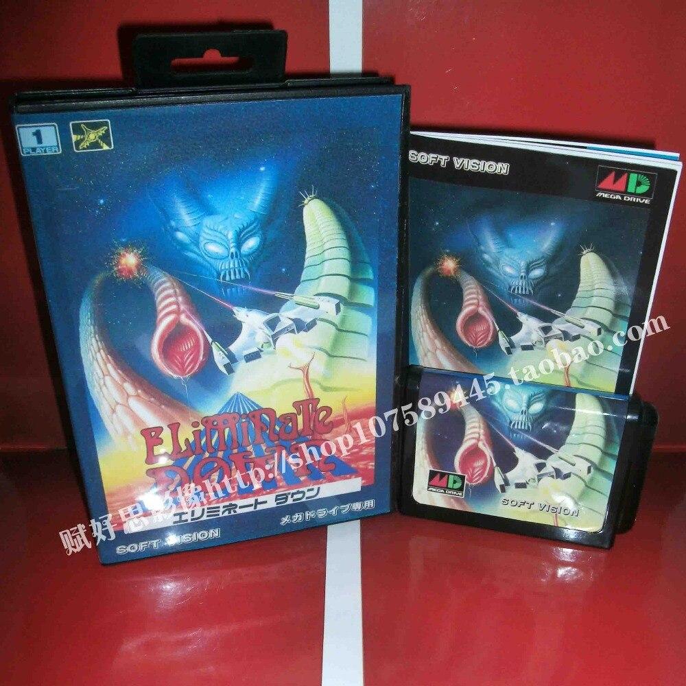 Sega MD game - Eliminate Down with Box and Manual for 16 bit Sega MD game Cartridge Megadrive Genesis system