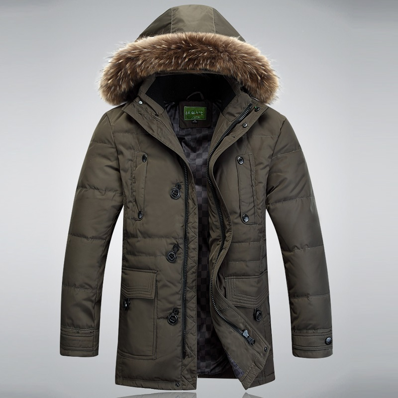 ФОТО Men's Down jacket With Fur Hood 90% Duck Down Winter Overcoat Outwear Winter Coat Free Shipping Wholesale And Retail