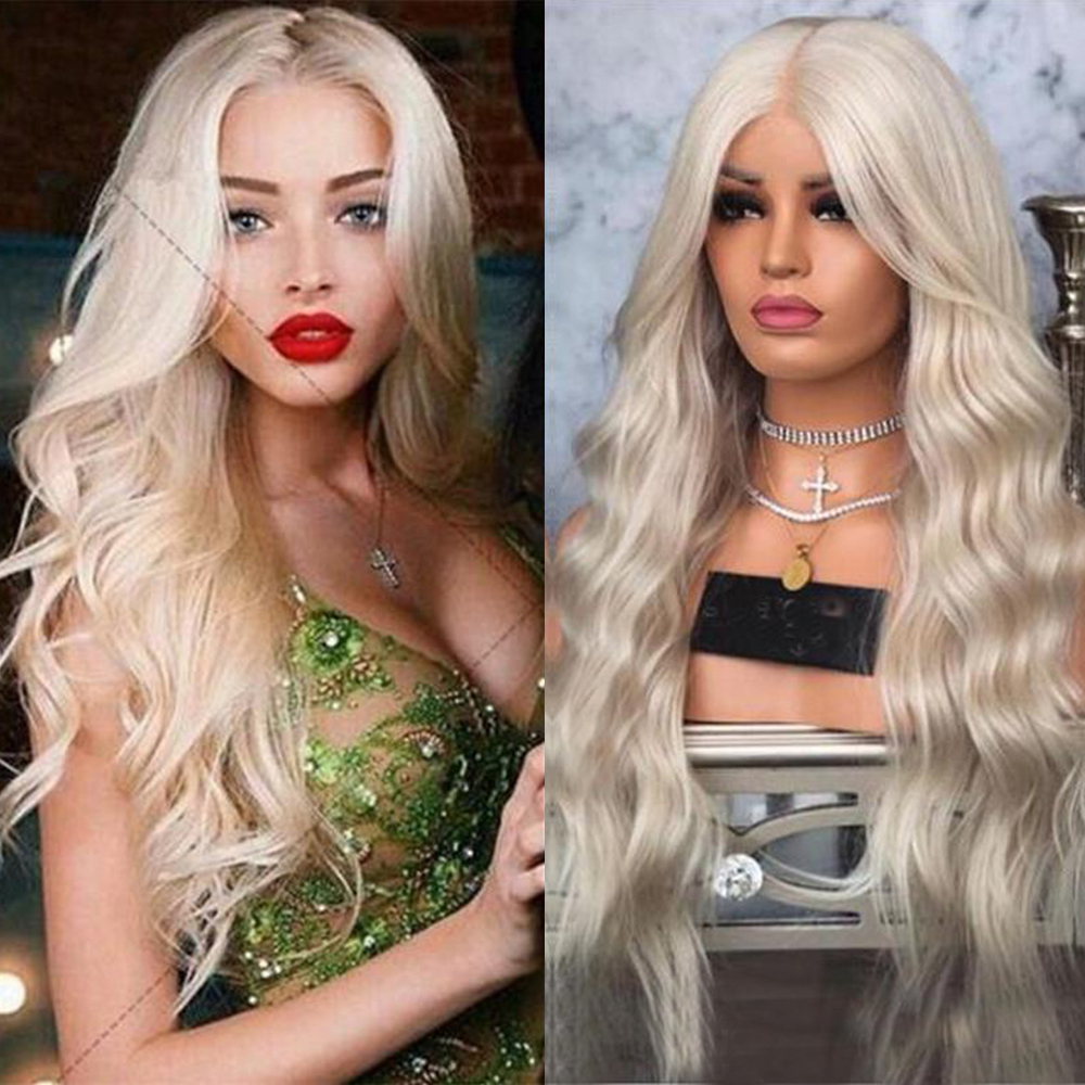 SimBeauty Natural Wave Lace Front Human Hair Wigs Pre Plucked For Women 13x6 Ombre Ash Platinum Blonde Straight Full Lace End