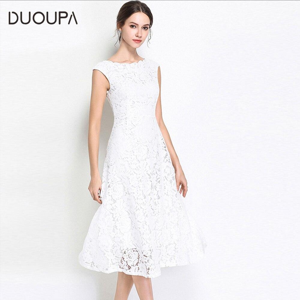 Summer Dresses 2019 New Wave-collared Sleeveless Lace Medium-length Elegant Ladies