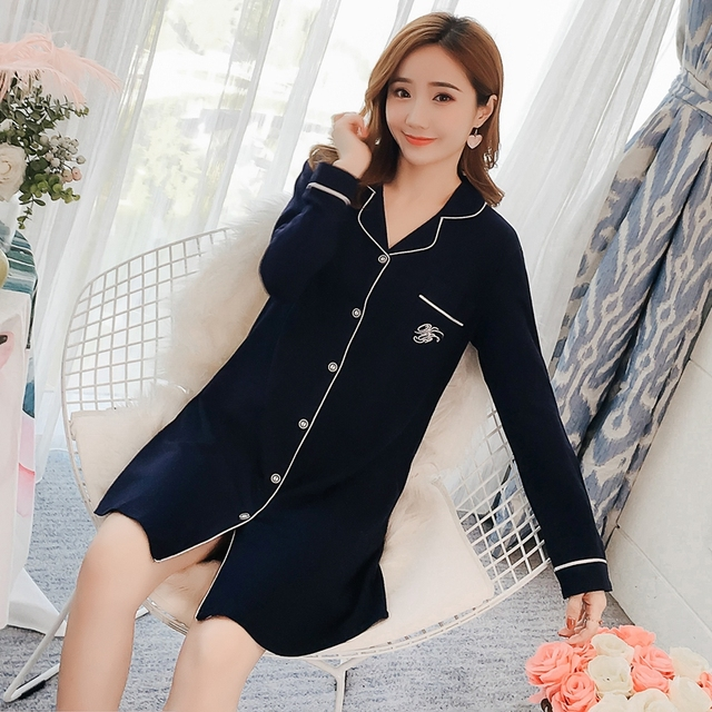 a971fe333d Plus Size Nightgown for Women 2018 Autumn Spring Sexy 100% Cotton Mini  Dress Long Sleeve Night Shirt Sleepwear Lounge Nightdress