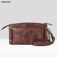 Luxury Brand Fashion Vintage Genuine Leather Cowhide Women Long Wallet Wallets Women's Purse Female Leather Clutch Bag Male Bags