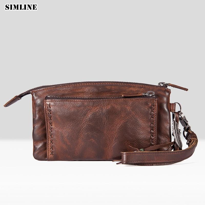 Marque de luxe mode Vintage en cuir de vachette véritable femmes Long portefeuille portefeuilles femmes sac à main femme en cuir pochette hommes sacs