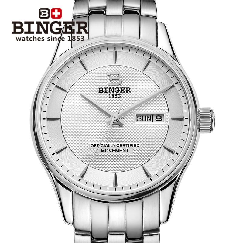Switzerland men'swatch luxury brand Wristwatches BINGER luminous Mechanical clock full stainless steel Waterproof B5008-1 binger 100