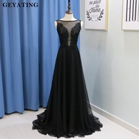 Black Sheer Neck Backless Evening Dress Long Lace Appliques Elegant Prom Dresses 2018 Vestidos De Festa