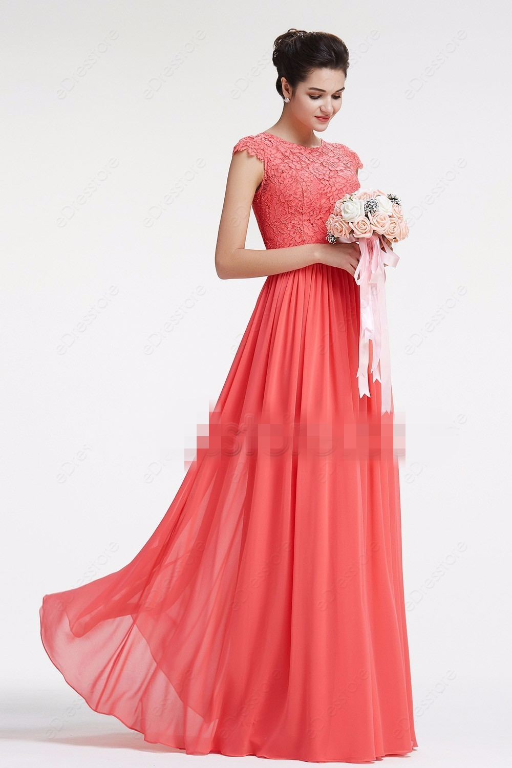 2019 New Coral Long Lace Chiffon Modest   Bridesmaid     Dresses   With Cap Sleeves A-line Floor Length Beach   Bridesmaid   Gowns Summer
