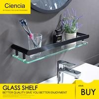 Free Shipping Black 304 Stainless Steel Bathroom Glass Shelf Wall Mount Glass Storage Towel Hanger Rack Drilling Holder