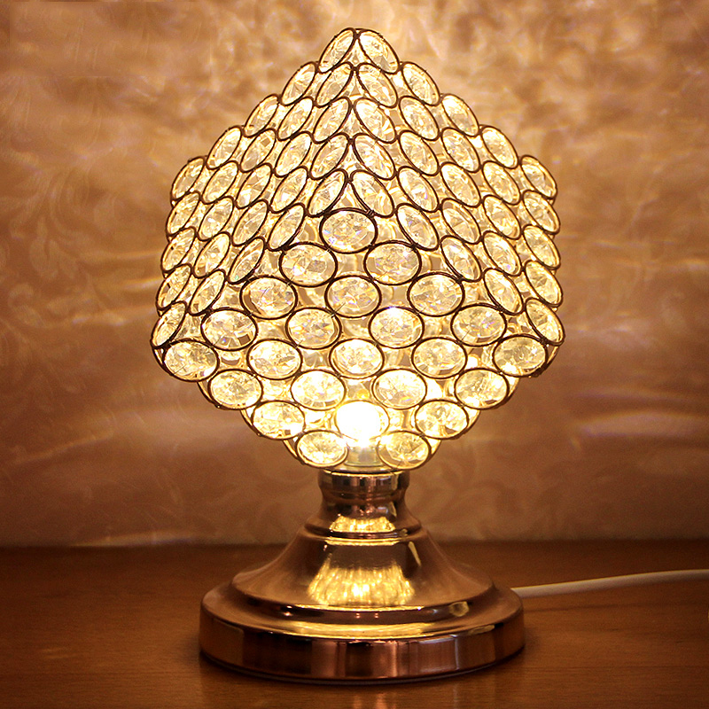 New Modern Square Gold Table Light Crystal Led Table Lamps For Bedroom Beside Lam Pbombillas Led Desk Lamp Free Shipping 2016 new 16 color changing rgb pe material led table lamps lighting for wedding atmosphere night lamp free shipping 4pcs lot