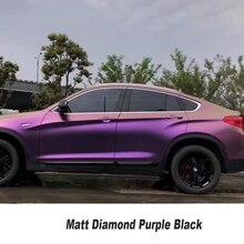 Premium Gold & фиолетовый хамелеон Цельнокройное винил с пузырьков воздуха автомобилей автомобиля wrap Мэтт Алмазная фиолетовый черный винил