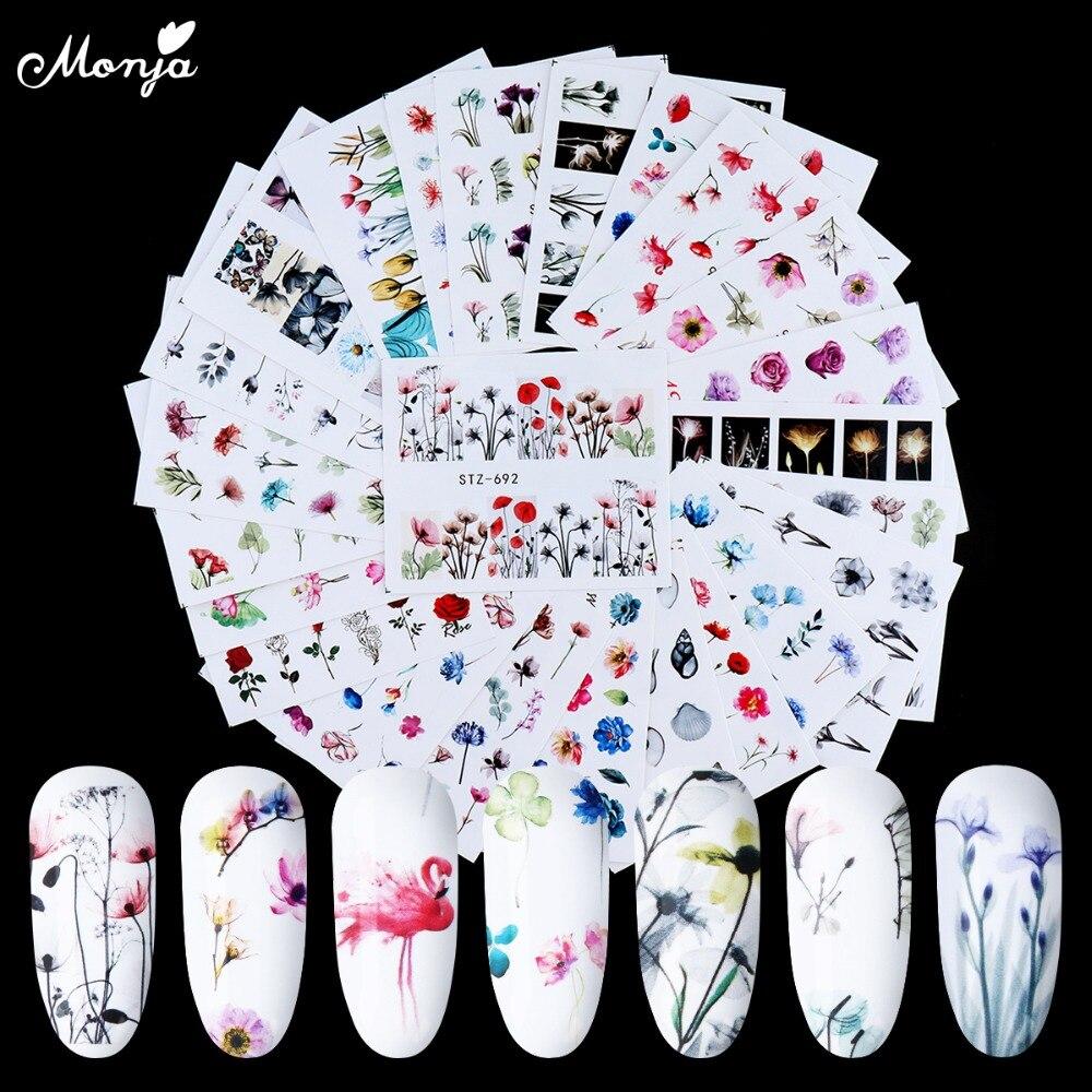 24 листа Monja, переводная наклейка с изображением фламинго, цветов для нейл-арта, элегантная Наклейка С Рисунком бабочки, водные знаки