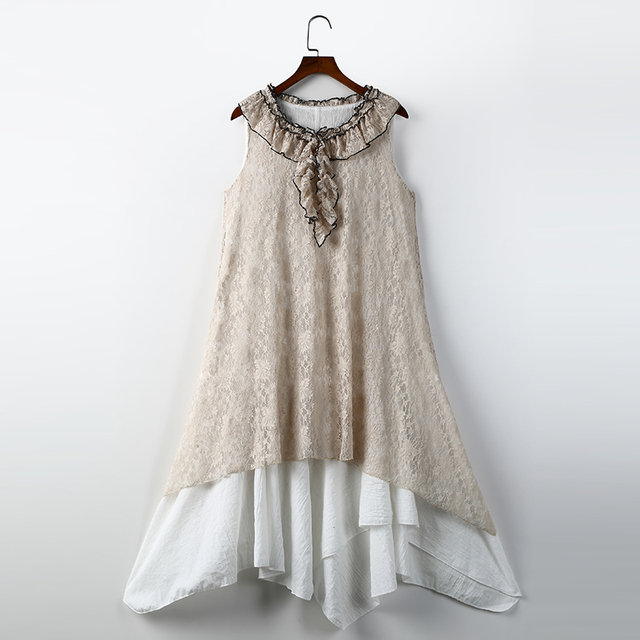 Vintage Mori Girl Style Summer Tank Dress Loose Casual O-neck Lace Women  Retro Dresses e8747fe3c61c