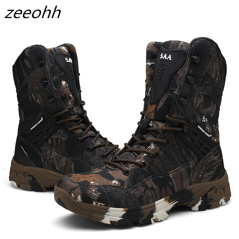 New Autumn Winter Waterproof Camouflage Tactical Shoe Suede Ankle Hunting Boots