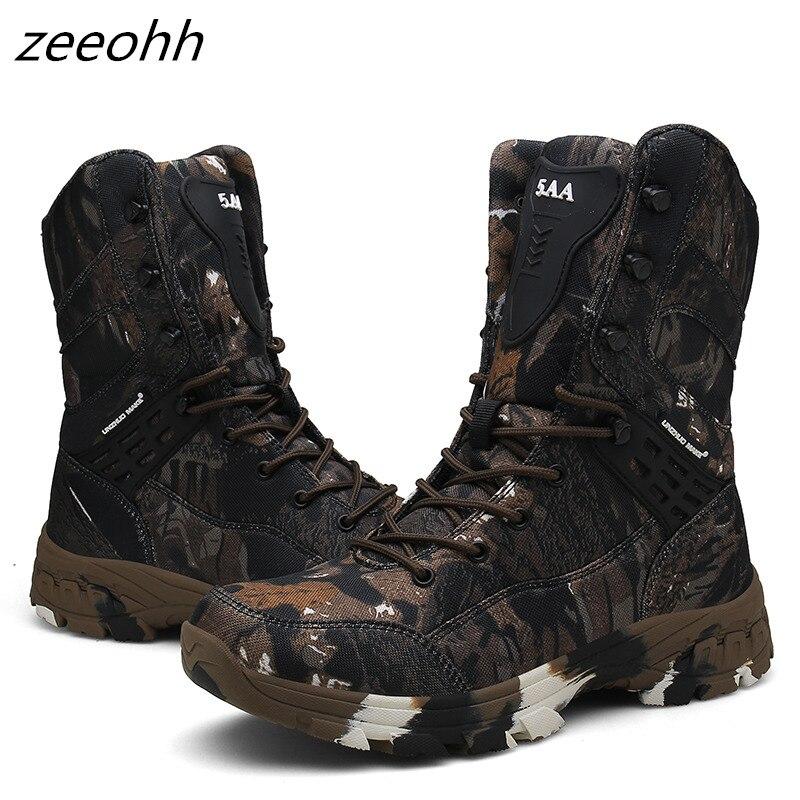 Nova camo militar botas homens força especial tático botas deserto ao ar livre antiderrapante sapatos de combate à prova dwaterproof água homem caminhadas caça bota