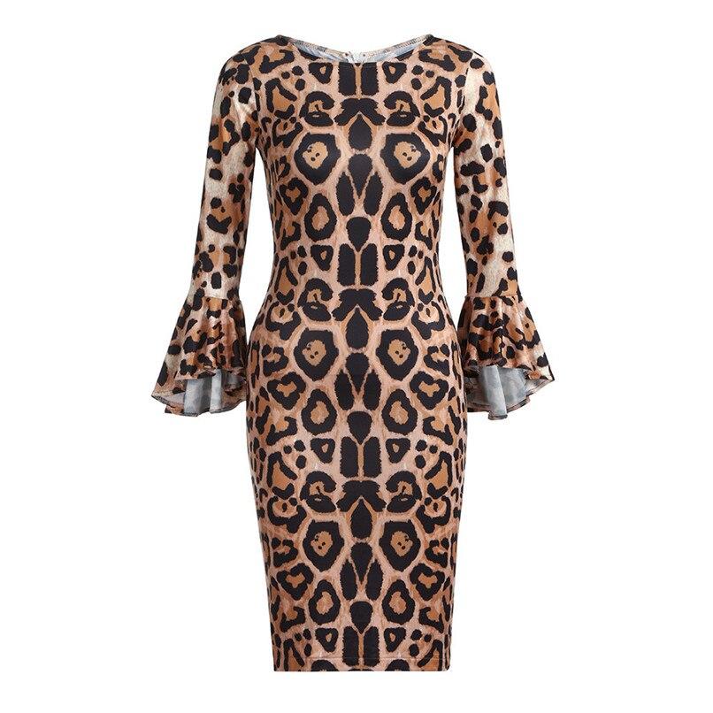 Leopard Dress Print 2018 Women Sexy Half Sleeve Midi Swing Dresses Lady Bodycon Party Club Hot Evening Vestdos #F#40OC161