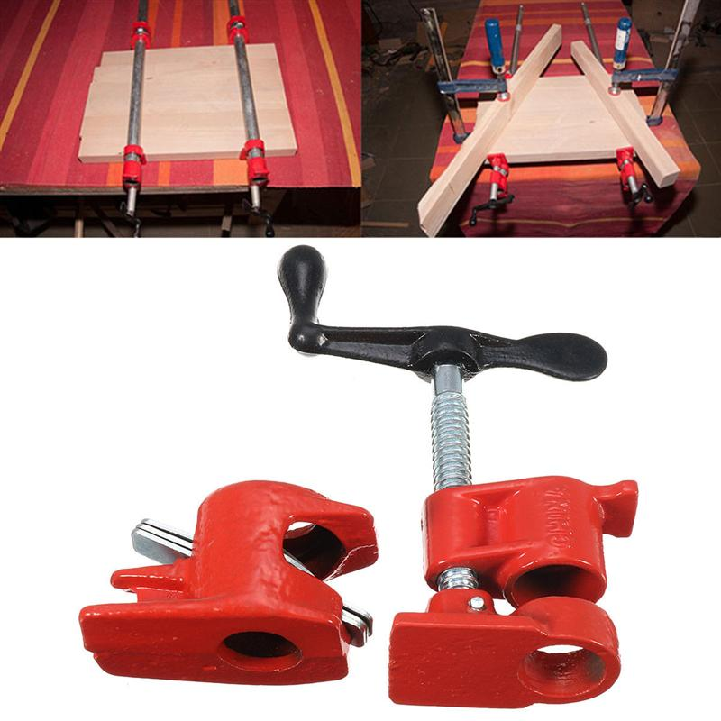 1/2 Wooden Gluing Pipe Clamp Set Heavy Duty Cast Iron Practical Hand Tool For Woodworking Water Pipe Jointed Board