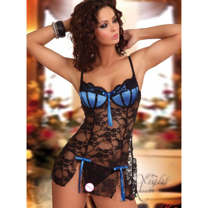 2018 Hot Sexy Lingerie Lady Print Perspective Lure Women Large Size Sexy Lingerie Stockings Sexy Lace Wear Nightwear Nightgown