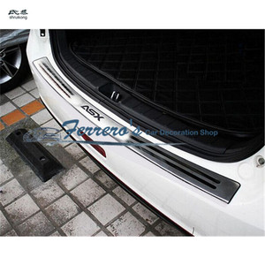 Image 1 - Darmowa wysyłka car styling dla 2010 2018 Mitsubishi ASX z płytą tylną ze stali nierdzewnej tylny próg bagażnika Scuff płyta ochronna pod silnik pedał