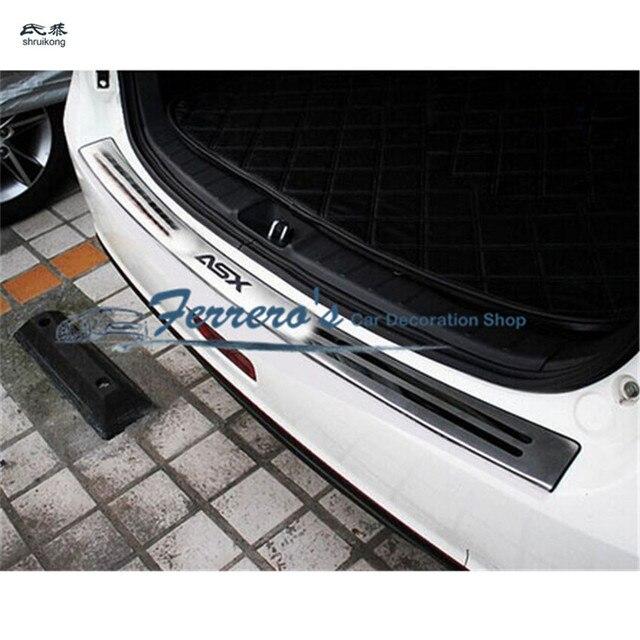 Darmowa wysyłka car styling dla 2010 2018 Mitsubishi ASX z płytą tylną ze stali nierdzewnej tylny próg bagażnika Scuff płyta ochronna pod silnik pedał