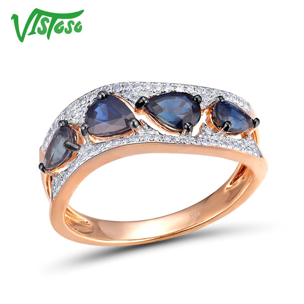 VISTOSO 14K 585 Rose Gold Shiny Diamond Fancy Blue Sapphire Genuine Ring For Women Engagement Anniversary Elegant Fine JewelryVISTOSO 14K 585 Rose Gold Shiny Diamond Fancy Blue Sapphire Genuine Ring For Women Engagement Anniversary Elegant Fine Jewelry