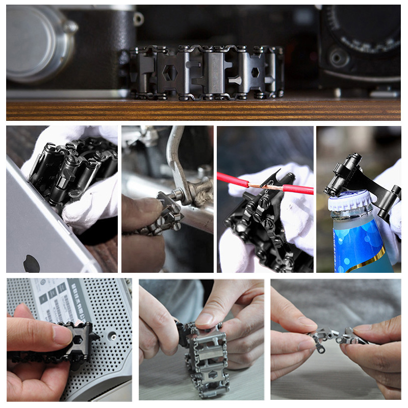 Survival Multi Tools Wearable 29 In 1 Stainless Steel Bracelet Strap Multi-function Screwdriver Outdoor Emergency Kits Multitool (12)