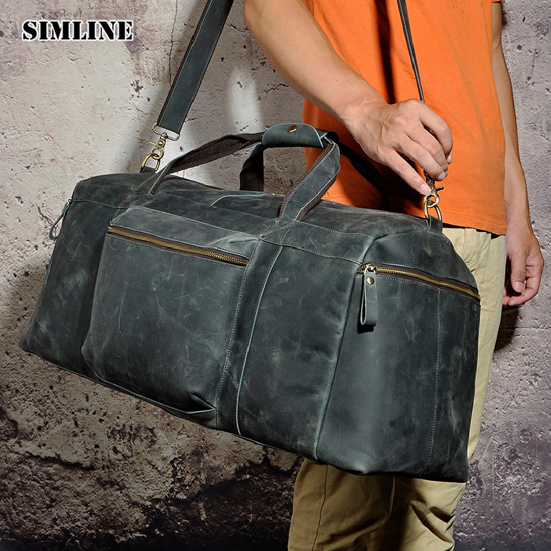 SIMLINE Vintage Genuine Crazy Horse Cow Leather Men Men's Large Capacity Travel Duffle Bag Shoulder Luggage Bags Handbag For Man simline 2017 vintage genuine crazy horse leather cowhide men men s messenger bag small shoulder crossbody bags handbags for man