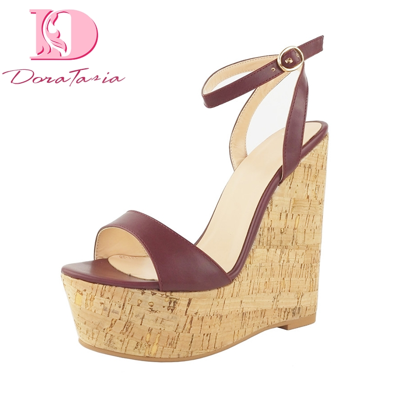 DoraTasia 2018 Brand New Big Size 34-43 Platform ankle-strap Summer Sandals Women Shoes Sexy Wedge High Heels Woman Shoes